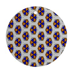 Orange Blue Honeycomb Pattern Ornament (round) by LalyLauraFLM
