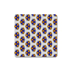 Orange Blue Honeycomb Pattern Magnet (square) by LalyLauraFLM