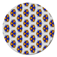 Orange Blue Honeycomb Pattern Magnet 5  (round) by LalyLauraFLM