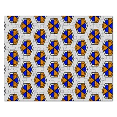 Orange Blue Honeycomb Pattern Jigsaw Puzzle (rectangular) by LalyLauraFLM