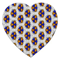 Orange Blue Honeycomb Pattern Jigsaw Puzzle (heart) by LalyLauraFLM