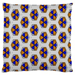 Orange Blue Honeycomb Pattern Large Cushion Case (two Sides) by LalyLauraFLM