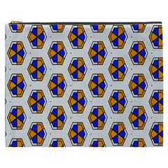 Orange Blue Honeycomb Pattern Cosmetic Bag (xxxl) by LalyLauraFLM