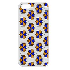 Orange Blue Honeycomb Pattern Apple Iphone 5 Seamless Case (white) by LalyLauraFLM