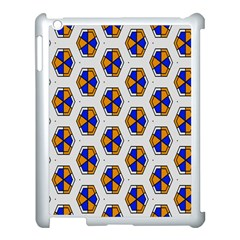 Orange Blue Honeycomb Pattern Apple Ipad 3/4 Case (white) by LalyLauraFLM
