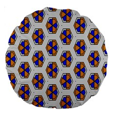 Orange Blue Honeycomb Pattern Large 18  Premium Round Cushion  by LalyLauraFLM