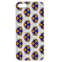 Orange Blue Honeycomb Pattern Apple Iphone 5 Hardshell Case With Stand by LalyLauraFLM