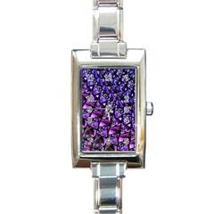 Blue Purple Glass Rectangular Italian Charm Watch