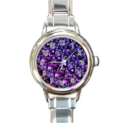 Blue Purple Glass Round Italian Charm Watch