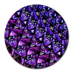 Blue Purple Glass 8  Mouse Pad (round) by KirstenStar