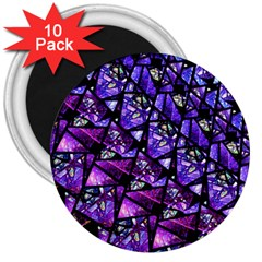 Blue Purple Glass 3  Button Magnet (10 Pack) by KirstenStar