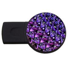 Blue Purple Glass 4gb Usb Flash Drive (round)