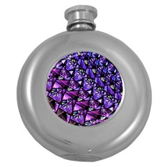 Blue Purple Glass Hip Flask (round)