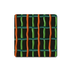 Orange Green Wires Magnet (square) by LalyLauraFLM
