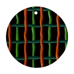 Orange Green Wires Round Ornament (two Sides) by LalyLauraFLM