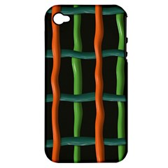 Orange Green Wires Apple Iphone 4/4s Hardshell Case (pc+silicone) by LalyLauraFLM