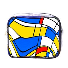Colorful Distorted Shapes Mini Toiletries Bag (one Side) by LalyLauraFLM
