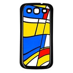 Colorful Distorted Shapes Samsung Galaxy S3 Back Case (black) by LalyLauraFLM