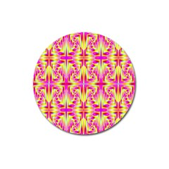 Pink And Yellow Rave Pattern Magnet 3  (round) by KirstenStar