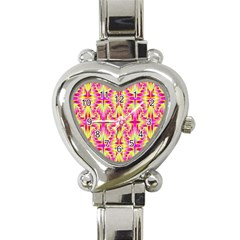 Pink And Yellow Rave Pattern Heart Italian Charm Watch  by KirstenStar
