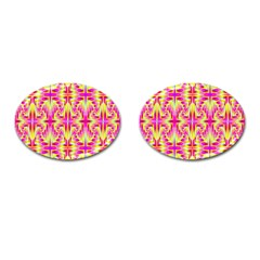 Pink And Yellow Rave Pattern Cufflinks (oval) by KirstenStar