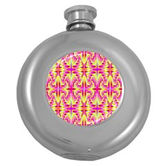 Pink And Yellow Rave Pattern Hip Flask (round) by KirstenStar