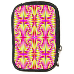 Pink And Yellow Rave Pattern Compact Camera Leather Case by KirstenStar