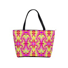 Pink And Yellow Rave Pattern Large Shoulder Bag by KirstenStar