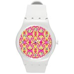 Pink and Yellow Rave Pattern Plastic Sport Watch (Medium) Front