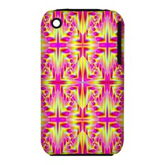Pink And Yellow Rave Pattern Apple Iphone 3g/3gs Hardshell Case (pc+silicone) by KirstenStar