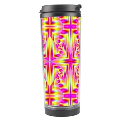Pink And Yellow Rave Pattern Travel Tumbler by KirstenStar