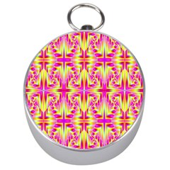 Pink And Yellow Rave Pattern Silver Compass