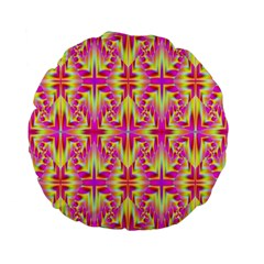 Pink And Yellow Rave Pattern Standard 15  Premium Flano Round Cushion
