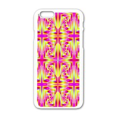 Pink And Yellow Rave Pattern Apple Iphone 6 White Enamel Case by KirstenStar