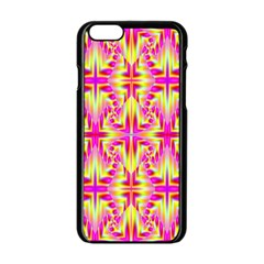 Pink And Yellow Rave Pattern Apple Iphone 6 Black Enamel Case by KirstenStar