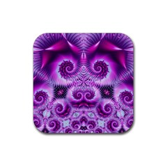 Purple Ecstasy Fractal Rubber Square Coaster (4 Pack) by KirstenStar