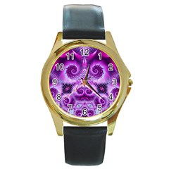 Purple Ecstasy Fractal Round Gold Metal Watch by KirstenStar
