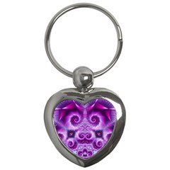 Purple Ecstasy Fractal Key Chain (heart) by KirstenStar