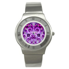 Purple Ecstasy Fractal Stainless Steel Watch by KirstenStar