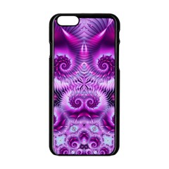 Purple Ecstasy Fractal Apple Iphone 6 Black Enamel Case by KirstenStar