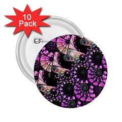Hippy Fractal Spiral Stacks 2 25  Button (10 Pack) by KirstenStar