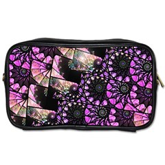 Hippy Fractal Spiral Stacks Travel Toiletry Bag (two Sides) by KirstenStar