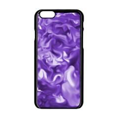 Lavender Smoke Swirls Apple Iphone 6 Black Enamel Case by KirstenStar