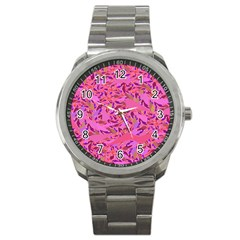 Bright Pink Confetti Storm Sport Metal Watch by KirstenStar