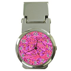 Bright Pink Confetti Storm Money Clip With Watch