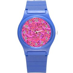 Bright Pink Confetti Storm Plastic Sport Watch (small)