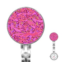 Bright Pink Confetti Storm Stainless Steel Nurses Watch by KirstenStar