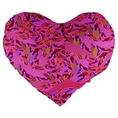 Bright Pink Confetti Storm Large 19  Premium Flano Heart Shape Cushion by KirstenStar
