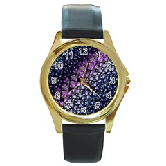 Dusk Blue and Purple Fractal Round Leather Watch (Gold Rim)  by KirstenStar
