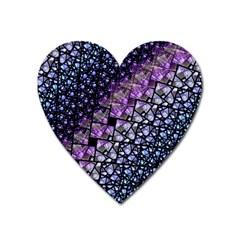 Dusk Blue And Purple Fractal Magnet (heart) by KirstenStar
